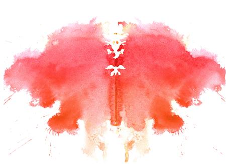 흰색 배경에 라스베리 수채화 대칭 Rorschach 오 점