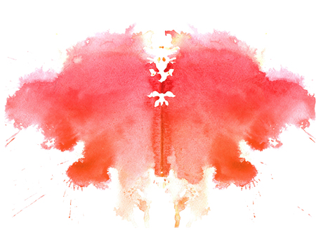 raspberry watercolor symmetrical Rorschach blot on a white background