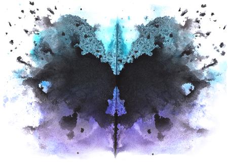 흰색 배경에 파란색 - 검정 수채화 대칭 Rorschach 오 점 스톡 콘텐츠