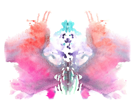 blue red watercolor symmetrical Rorschach blot on a white background