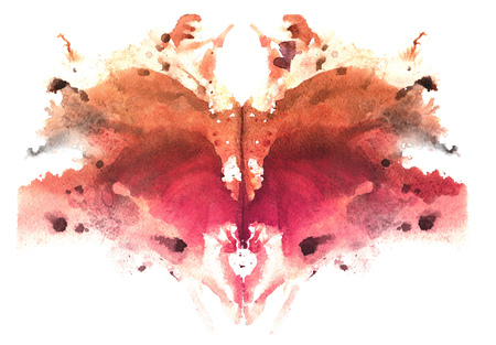 brown watercolor symmetrical Rorschach blot on a white background