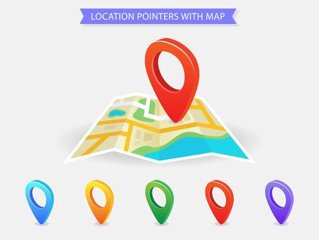 Location pointers with map, pin location map - Vector Çizim