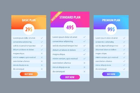 creative template for business plan, price table for website