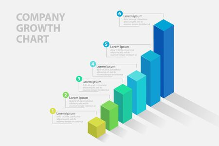 Business progress bar, Modern bar chart for business Infographics - Vector illustration