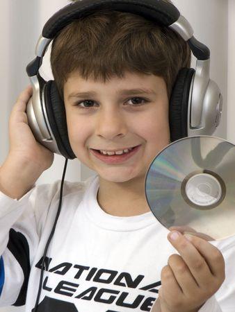 Child listening music photo
