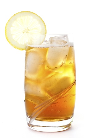 A glass of ice lemon tea, drink, isolated on white background Stock Photo