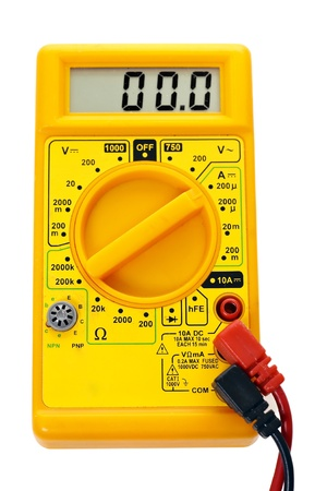 Yellow multimeter, technology tool, on white background photo