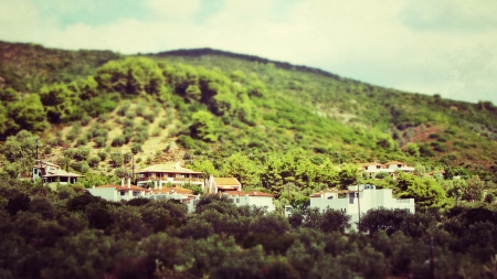Houses at Alonisos greek island, with tilt-shift lens effect photo
