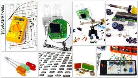 electronic background: A collection of DIY electronics  Isolated on white background