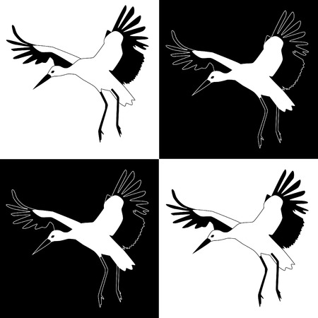 blackwhite: Black&White Storks Illustration