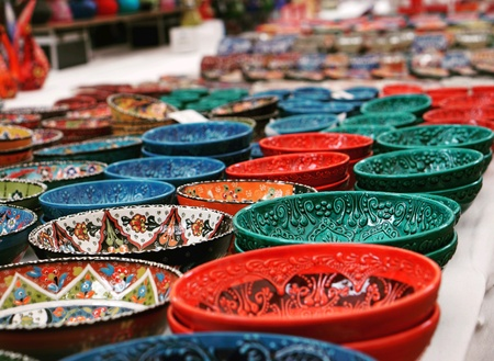 Colorful pottery in Turkey bazaar.