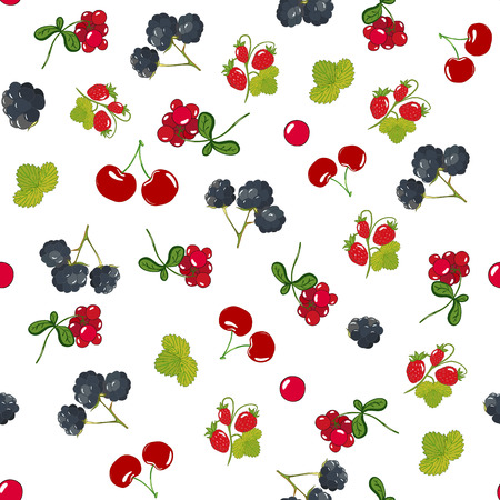 Seamless berry pattern with colorful wild berries and leaves