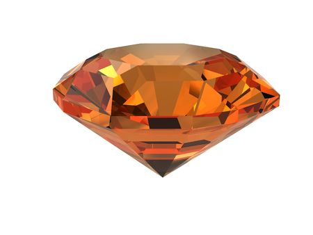 Dark-orange gemstone isolated on white. High resolution 3D image. Stock Photo - 4539648