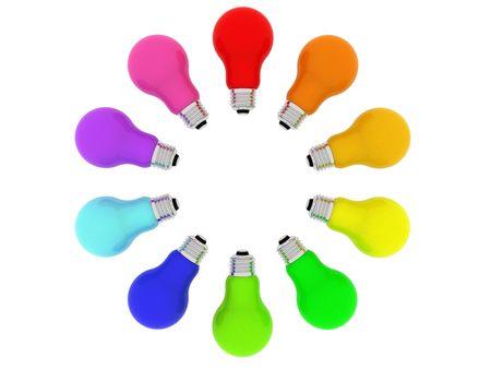 Lightbulbs kaleidoscope of rainbow colours isolated on white. High resolution 3D image