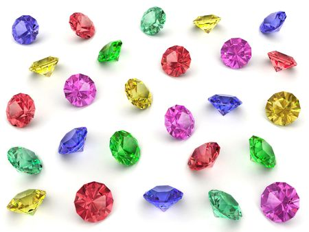 faceted: Several multi-coloured faceted gemstones rendered with soft shadows. High resolution 3D image Stock Photo