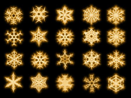 Set of 20 snowflakes in sparkled style on black background photo
