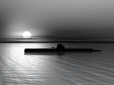 High resolution 3D render of submarine on a background of a sunset on the sea