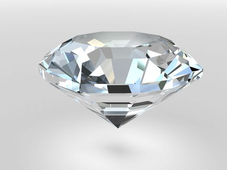 Diamond rendered with soft shadows. High resolution 3D image Archivio Fotografico