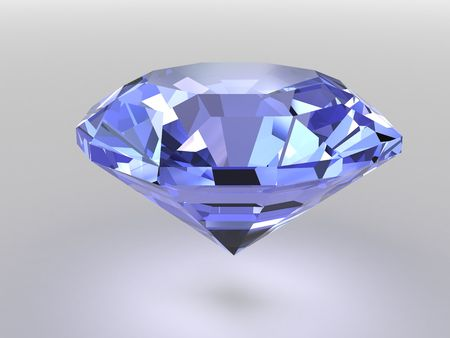 Blue diamond rendered with soft shadows. High resolution 3D image photo