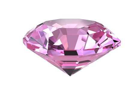 Pink diamond isolated on white background. High resolution 3D render