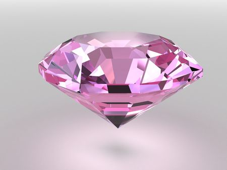 Pink diamond rendered with soft shadows. High resolution 3D image photo