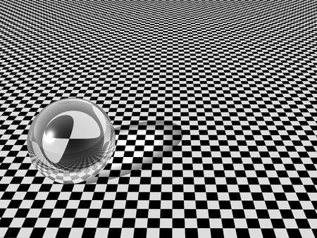 Clear glass ball on checkerboard background. High resolution 3D render image photo