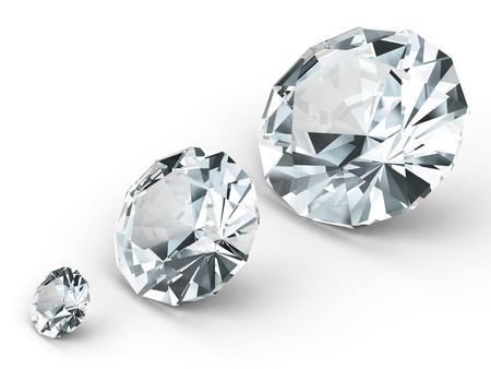 Three different diamonds on white background. High resolution 3D image rendered with soft shadows Stock Photo - 4701845