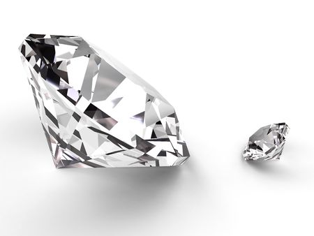 Big and small diamond rendered with soft shadows on white background. High resolution 3D image photo