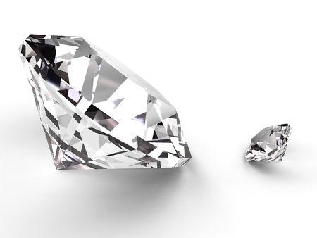 queen diamonds: Grandi e piccoli diamanti reso morbido con ombre su sfondo bianco. Ad alta risoluzione di immagini 3D