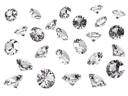 pietre preziose: Molti diamanti isolato su sfondo bianco. Rendering 3D ad alta risoluzione Archivio Fotografico