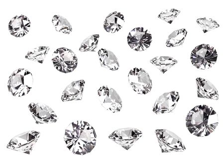 Several diamonds isolated on white background. High resolution 3D render photo