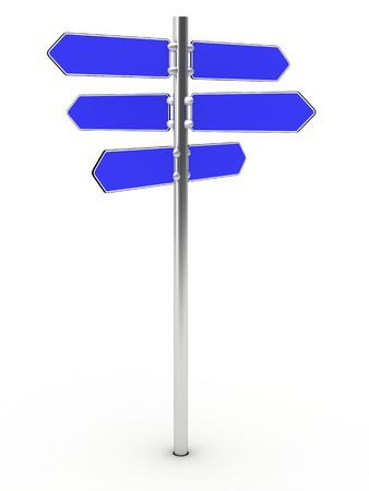 Blank direction signs on a metal column on the white background - just add your text. High resolution 3D image photo