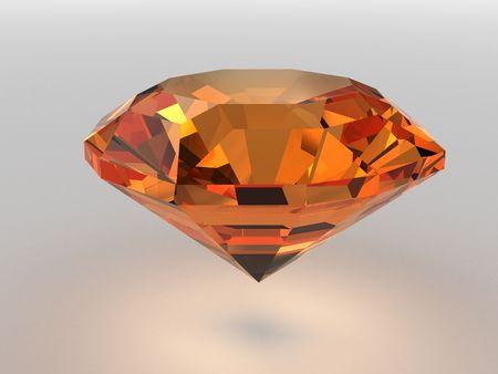Dark-orange gemstone rendered with soft shadows. High resolution 3D image. photo