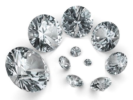 Spiral of different diamonds on white background. High resolution 3D image rendered with soft shadows