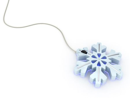 Computer mouse in light blue snowflake style on white background. High resolution 3D image Stock Photo - 4701842