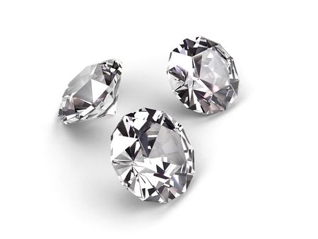 Three diamonds on white background. High resolution 3D render photo