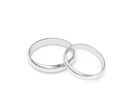Platinum or silver wedding rings on white background. High resolution 3D image. photo