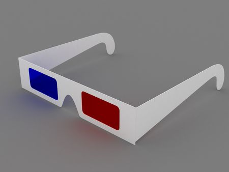 Red blue 3D glasses isolated on a gray background Stock Photo - 4806137