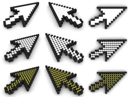Different arrow cursors in nine view rendered on white background with soft shadows. High resolution 3D image