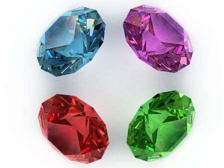 Multi-coloured faceted gemstones. Top view. High resolution 3D image Stock Photo