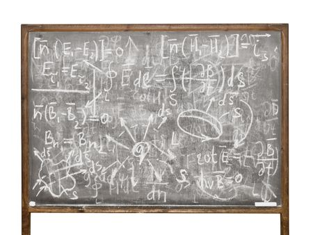 Equations on the old style blackboard isolated on white background photo