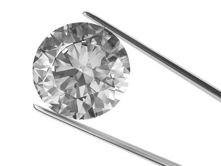 piedras preciosas: Un diamante se celebr� en pinzas aisladas sobre fondo blanco. Imagen en 3D de alta resoluci�n. Foto de archivo