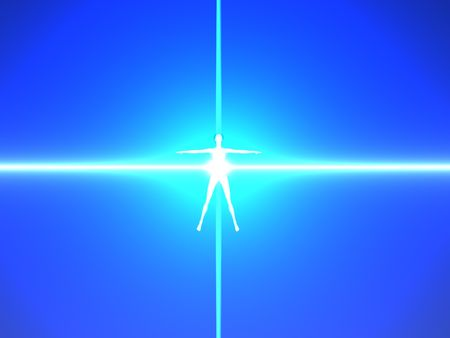 Abstract image of a human body in blue power rays. High resolution 3D background. Stock Photo - 4857384