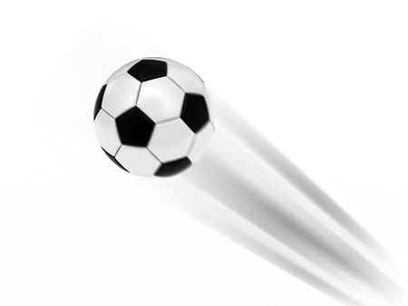 Flying soccer ball on white background rendered with motion blur effect. High resolution 3D image. Stock Photo - 4944272