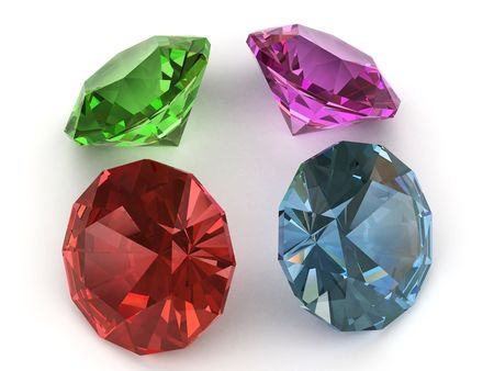 Multi-coloured faceted gemstones. Side view. High resolution 3D image