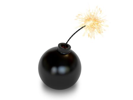 Bomb in old style with a burning wick on white background. High resolution 3D image