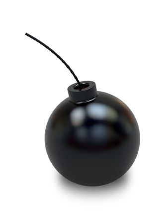 Bomb in old style with a wick on white background. High resolution 3D image photo