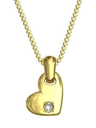 Colgante de oro en forma de coraz�n con diamantes en la cadena aislada en blanco. En 3D de alta resoluci�n de imagen Foto de archivo - 5238460