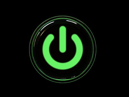 Green power button isolated on black background. High resolution 3D image.