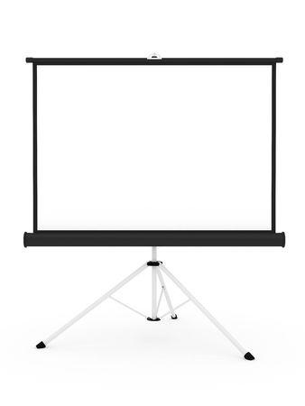 r�le: Ecran de projection sur tr�pied isol� sur fond blanc. 3D � haute r�solution d'image Banque d'images